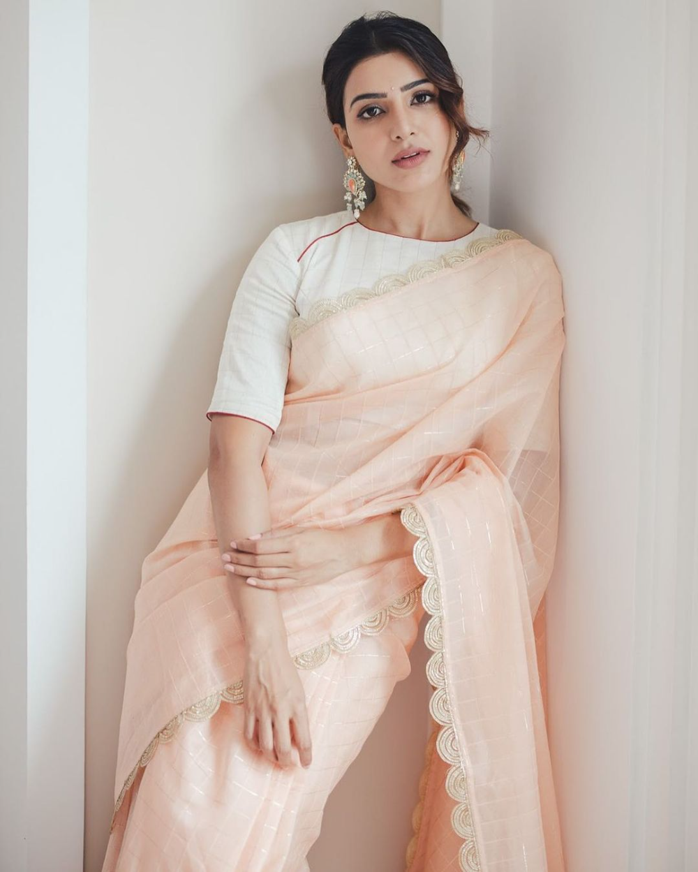 Samantha wears a pastel saree from Saaki for a magazine photoshoot