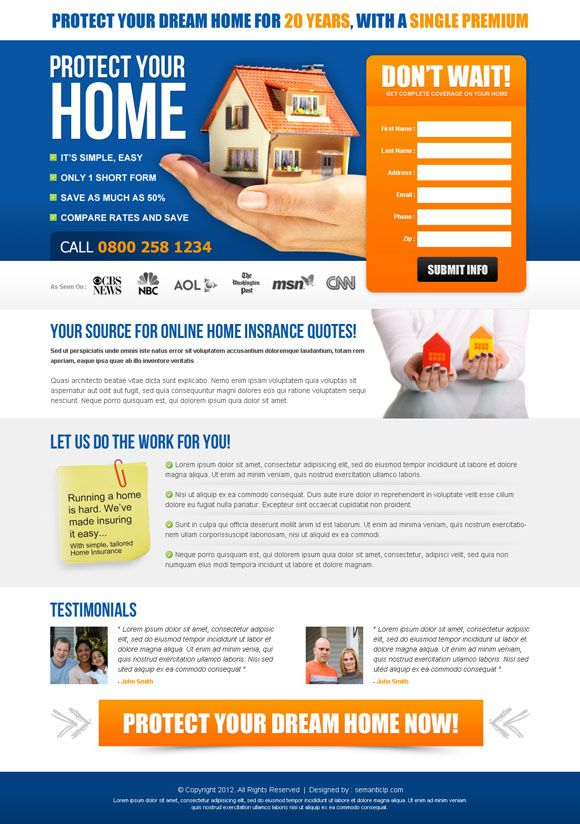 Home Insurance Landing Page Design Http Www Serverpoint Com