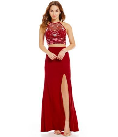 B Darlin Embellished Halter Two Piece Long Dress Dillards Gowns