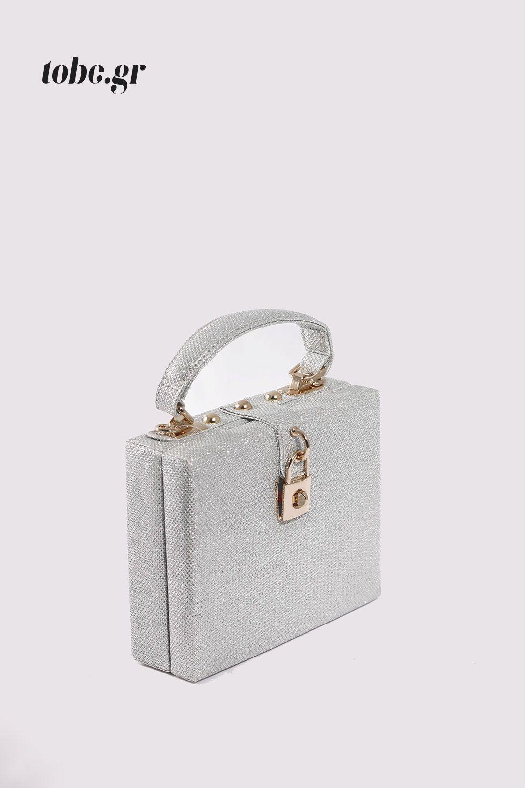 2f58c5eff1 Μικρή τσάντα βαλιτσάκι με έντονη εντυπωσιακή λάμψη γκλίτερ και χρυσές  λεπτομέρειες. Κωδ. 117.043