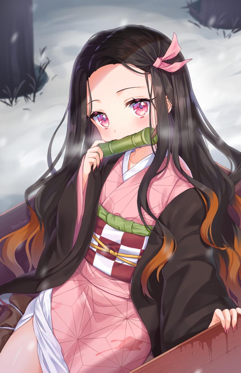 Safebooru 1girl bamboo bangs bit gag black hair blush