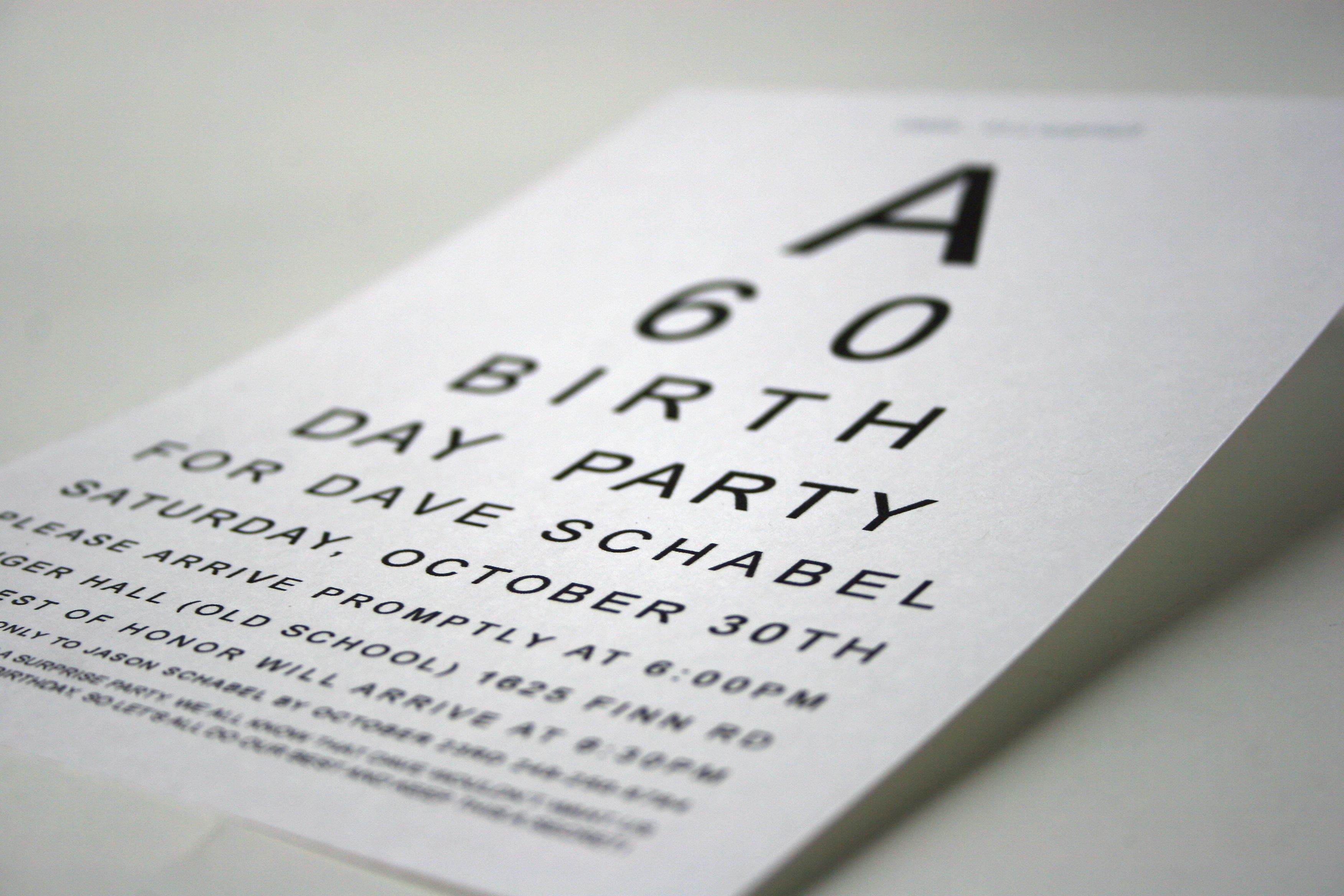 Eye chart 60th birthday party invite daddys bday pinterest eye chart 60th birthday party invite solutioingenieria Images