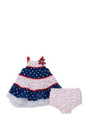 1078e9e3cd8d Little Me Patriotic Tier Dress With Panty