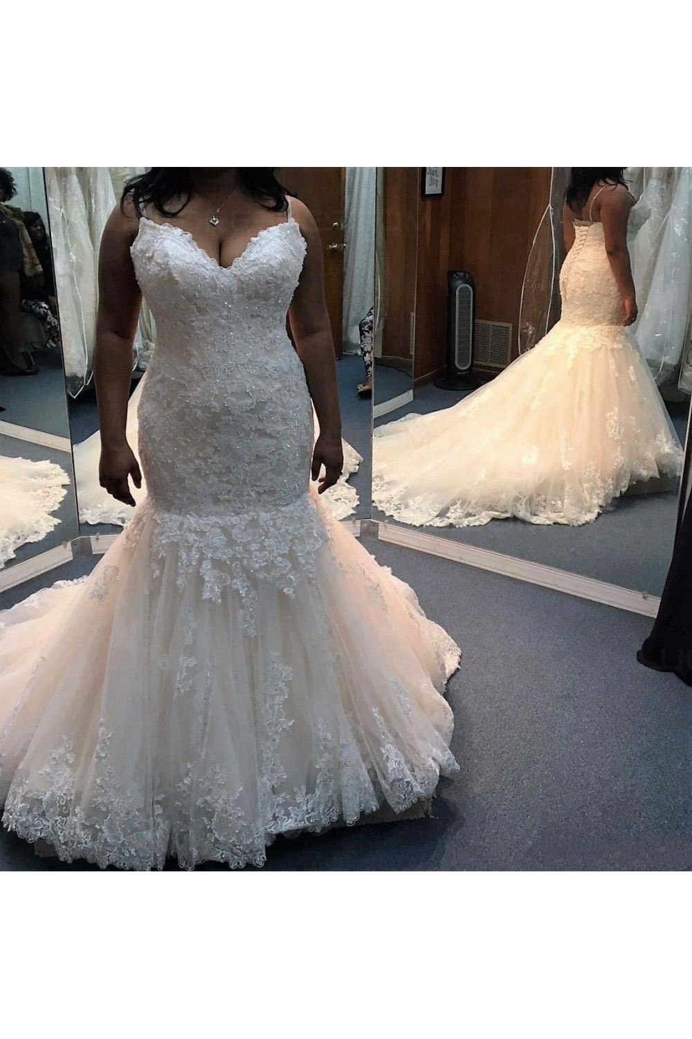 Mermaid sweetheart plus size lace wedding dresses bridal gowns