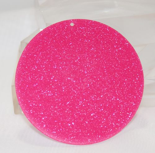 "Glitter Acrylic Circle Disc - Hot Pink  3"" sold in sets of 5 for $3.75   These are 3 inch round hot pink glitter discs that are 2mm thick and have a 2mm hole. There are 5 pieces per set and all the same color. There are 27 glitter colors to choose from be sure to look at all the colors. Please note these are glitter one side and white on the other side."