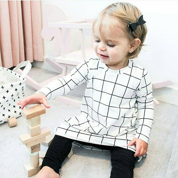 Baby Girl Shirt Dress W Black And White Grid Monochrome Long Or