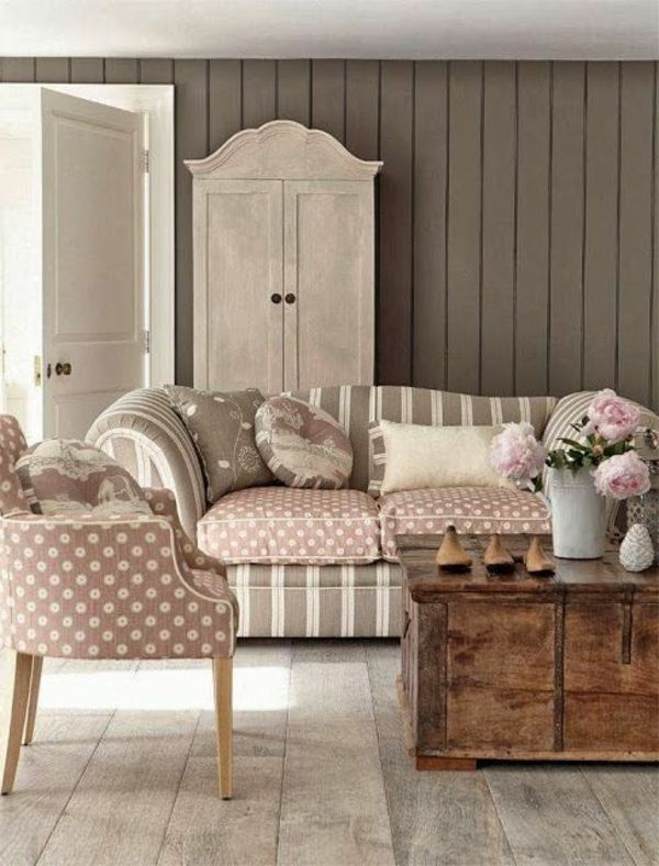 shabby chic stil wohnzimmer einrichten rustikaler. Black Bedroom Furniture Sets. Home Design Ideas