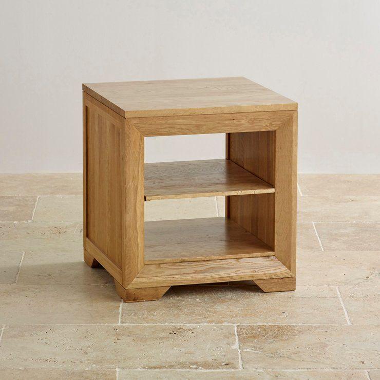 Bevel Natural Solid Oak Lamp Table in