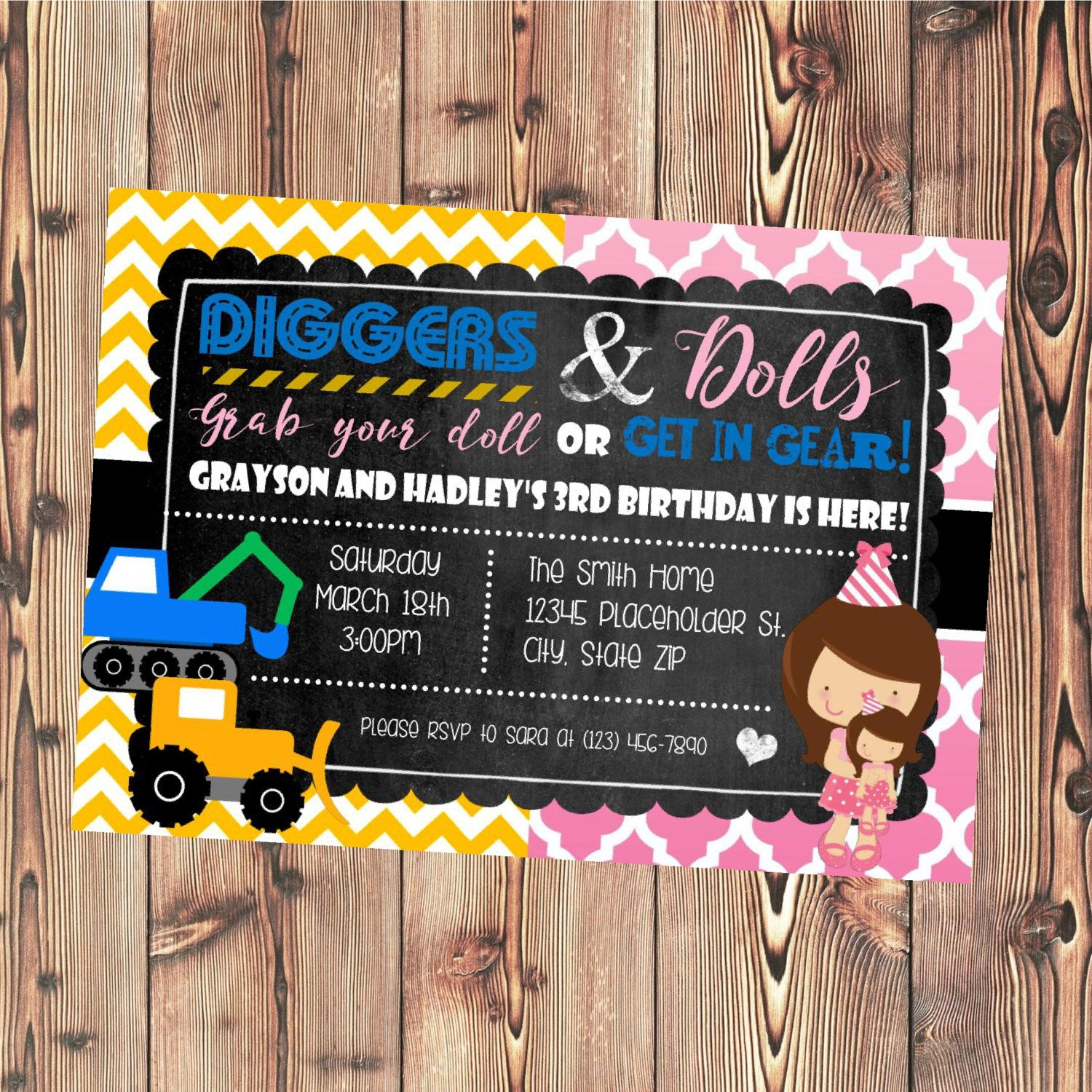 Twin Or Sibling Birthday Party Invite