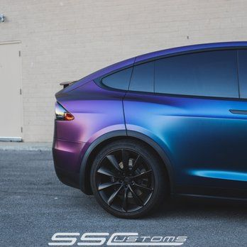 Tesla Model X Wrapped In Satin Rushing Riptide With Satin Black Chrome Delete And Powdercoated Satin Black Factory Wheels Yelp