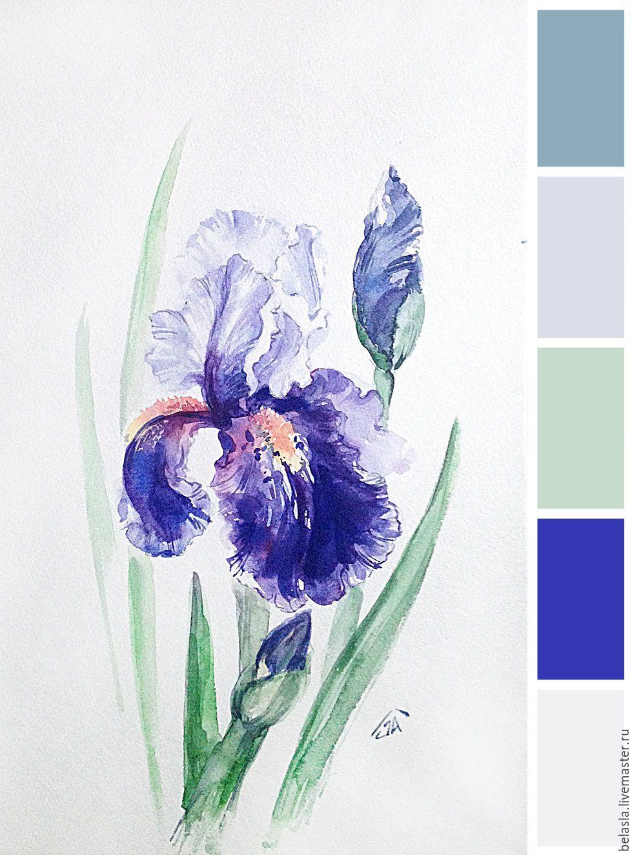 Purple Iris Watercolor Zakazat Na Yarmarke Masterov Ahhkrcom
