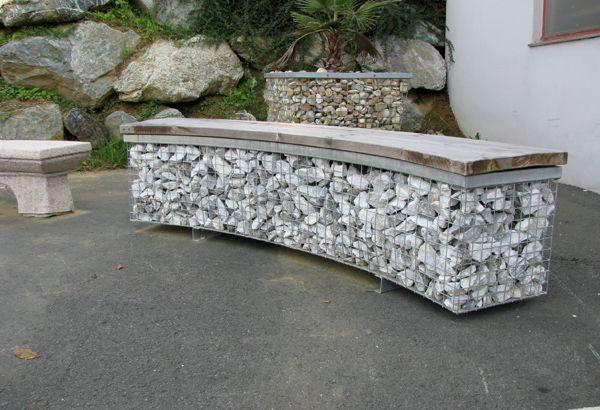 Mobiliario de gaviones mobiliario de gabiones banco de piedra banco relleno piedra banco - Mobiliario para jardin ...