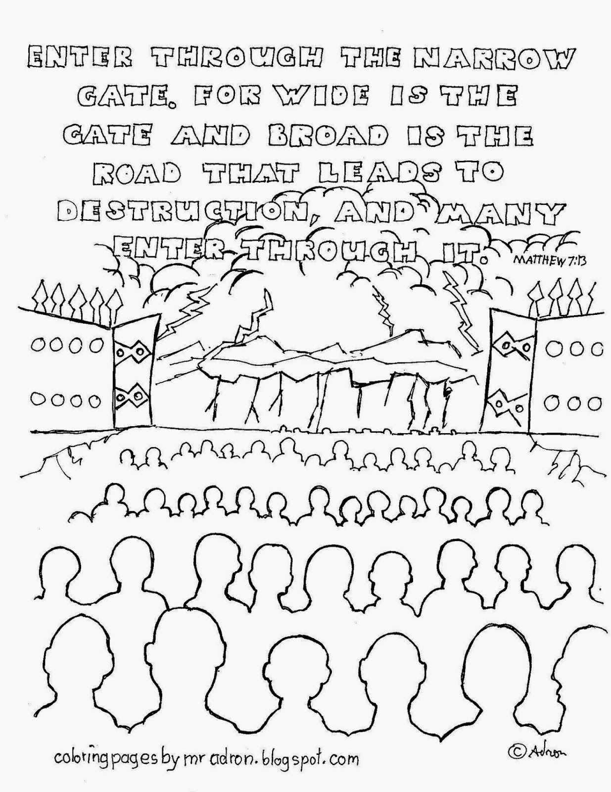 Coloring Pages For Kids By Mr Adron Wide Is The Gate Coloring Page Matthew 7 13