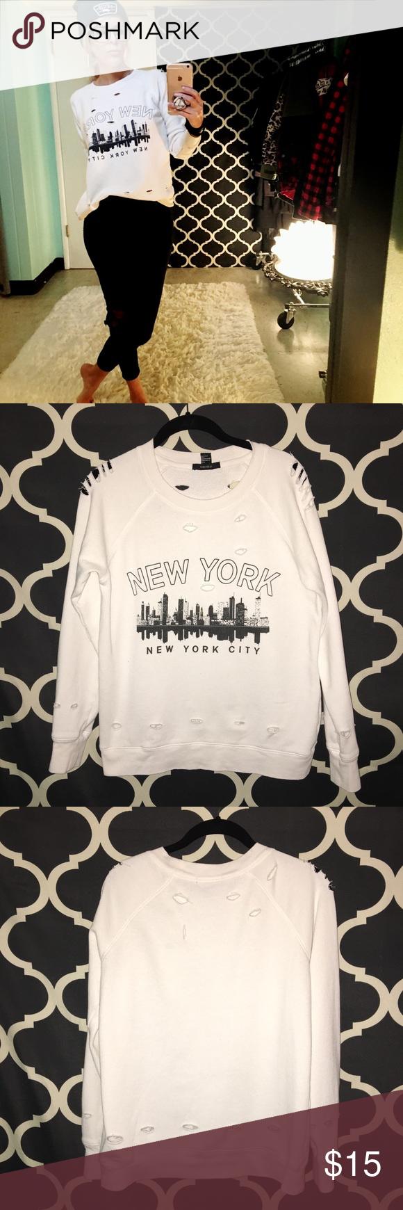 Forever 21, New York City Sweatshirt Forever 21, New York City sweatshirt. Holes all over garment. Care tag missing, Forever 21 Tops Sweatshirts & Hoodies