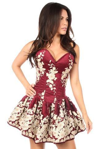 wine red floral steel boned short corset dress  short
