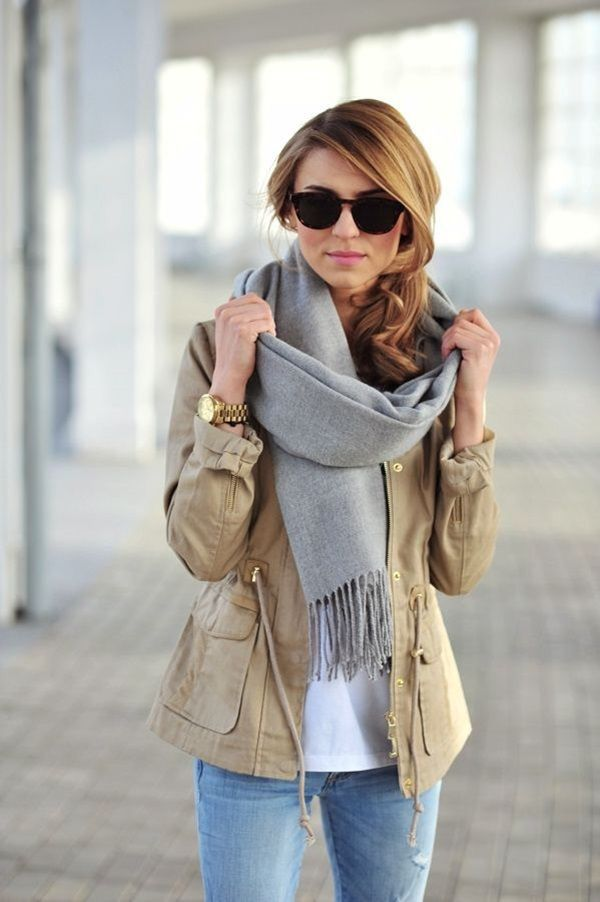 676eda300d525 Gray scarf + beige parka. | FALLing for Style | Autumn fashion ...