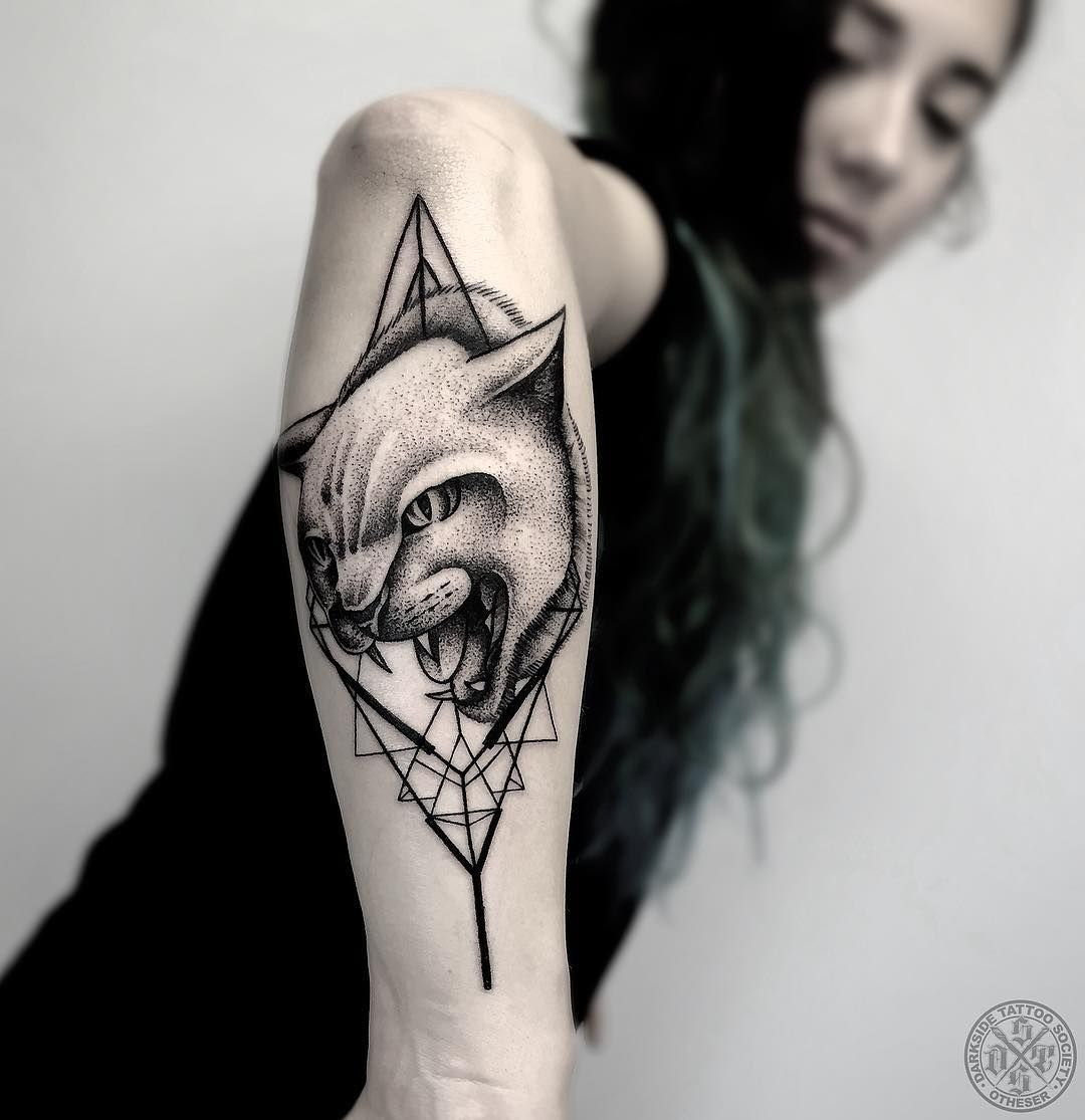 Cat Tattoo By Otheser Dsts Blackwork Animal Tattoos Are Classy Mysterious They Stand Out Due To Their Bold Lines And Geometric Tattoo Tattoos Arm Tattoo