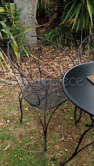 Chair Wrought Iron Black Set Available For Hire From Www