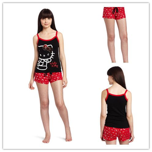 women's pajamas | Kitty Women's Pajama Short Set with Shorts and ...