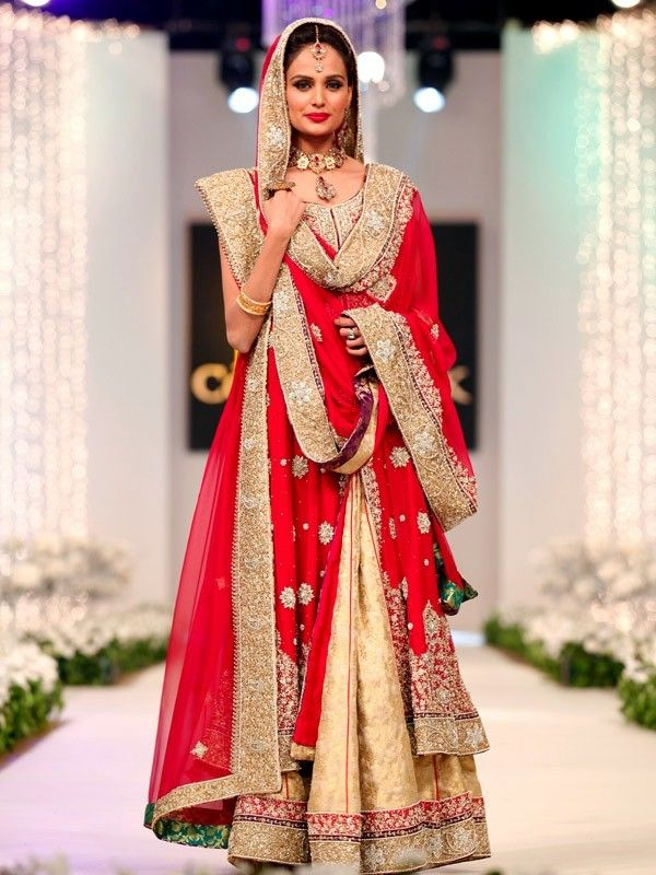 Red, Fawn and Gold Bridal Anarkali Suit by Manish Malhotra ...