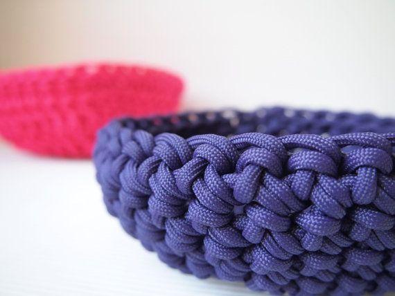 Purple Paracord Crocheted Bowl Etsy Crochet Bowl