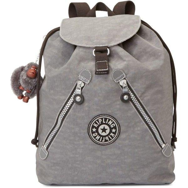 Kipling Fundamental Backpack (€93) ❤ liked on Polyvore featuring bags, backpacks, dusty grey, kipling, gray backpack, gray bag, zip bags y lightweight backpack
