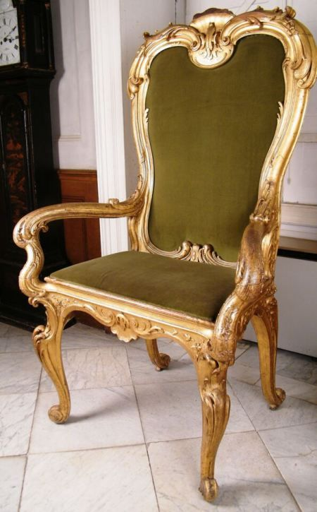 Carved and gilded armchair associated with the 'Great Speaker'. ©National Trust