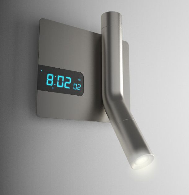 reading light flashlight and alarm clock all wall mounted