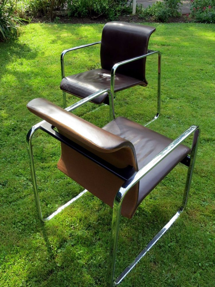 A Pair Of Peter Protzman For Herman Miller , Leather U0026 Tweed Tubular Chairs.