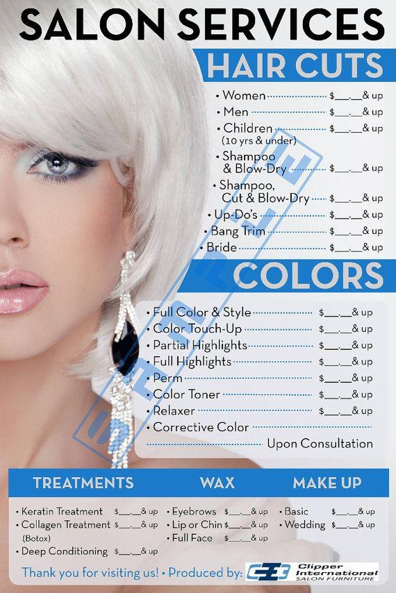 Salon Poster Beauty Salon Poster Salon Price di BarberPosters