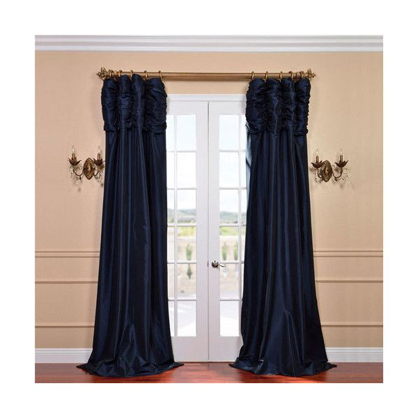 Half Price Drapes Ruched Navy Blue 108 X 50-Inch Faux Silk