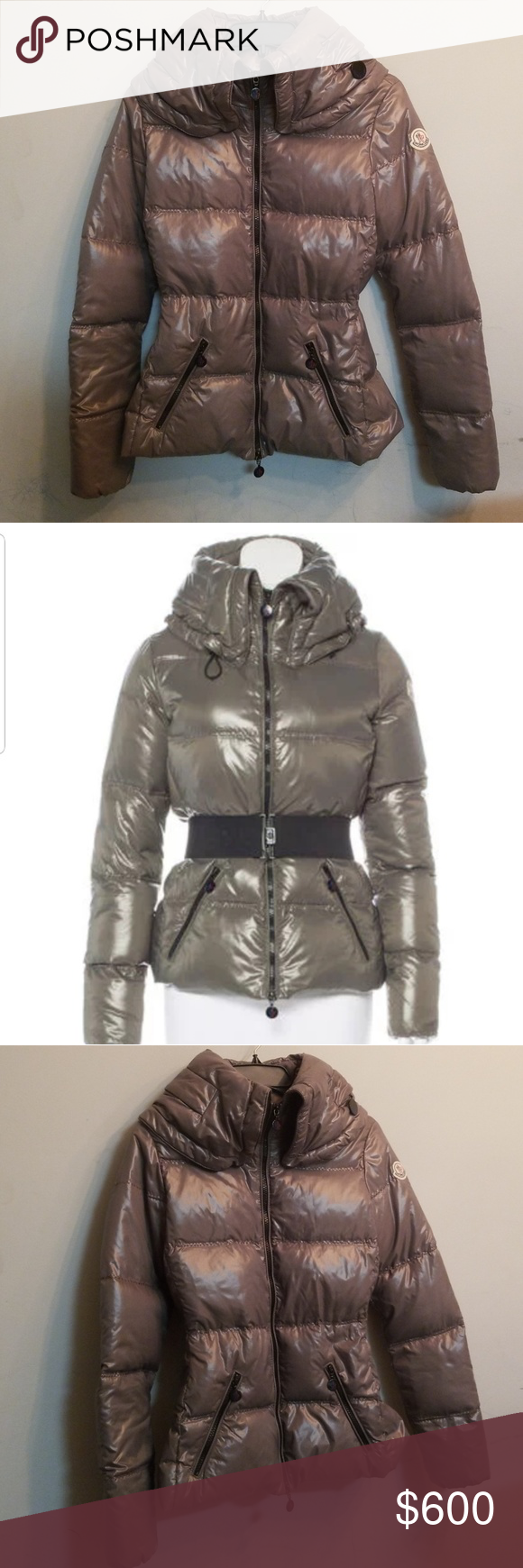 Moncler Aliso Taupe Puffer Down Jacket 2 XS Jackets