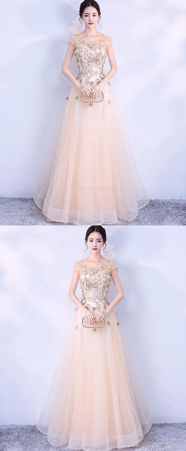 Prom dresses lace long prom dresses champagne prom dresses