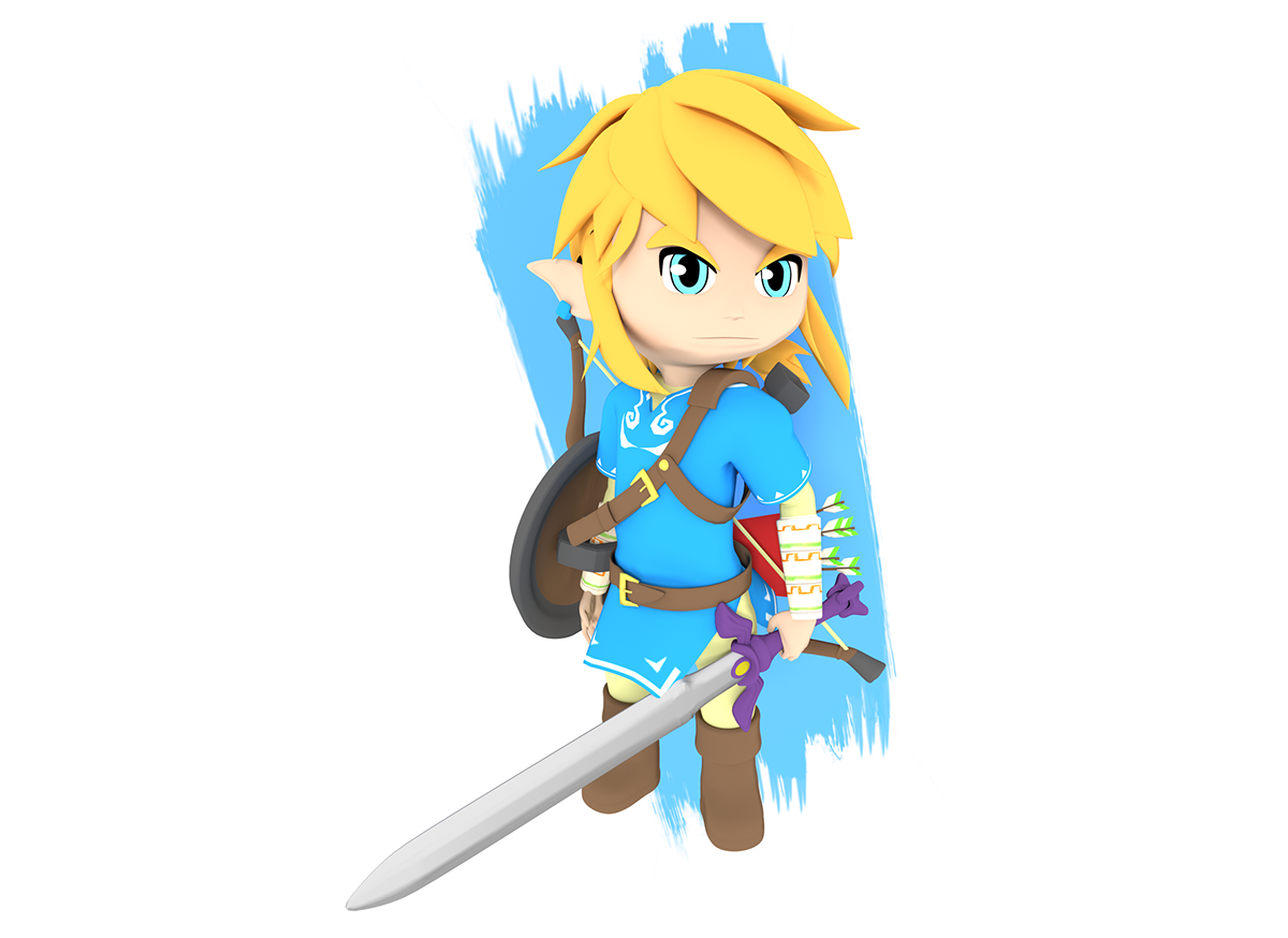 3d Model Of Link In Chibi Toon Style Of The Game The Legend Of Zelda Breath Of The Wild Legend Of Zelda Breath Of The Wild Zelda