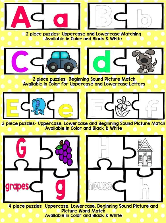 ABC Matching Puzzle Cards Letters, Words and Pictures
