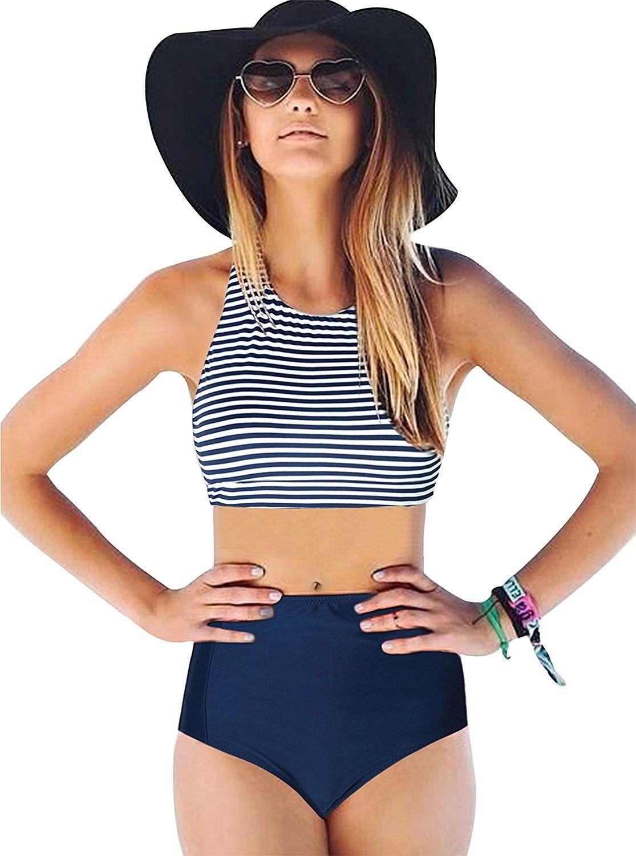 bcf9c2c5534 Women's Clothing, Swimsuits & Cover Ups, Bikinis, Sets,Bikini Swimsuit For  Women- Racerback 2PCS Tankini Stripe High Waisted Bikini - Navy -  CP18C3SXG2I ...
