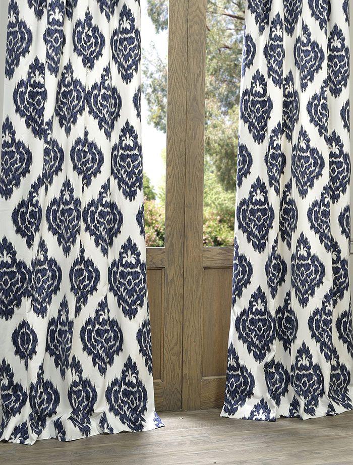 Ikat Blue Printed Cotton Curtain Printed Cotton Curtain Ikat