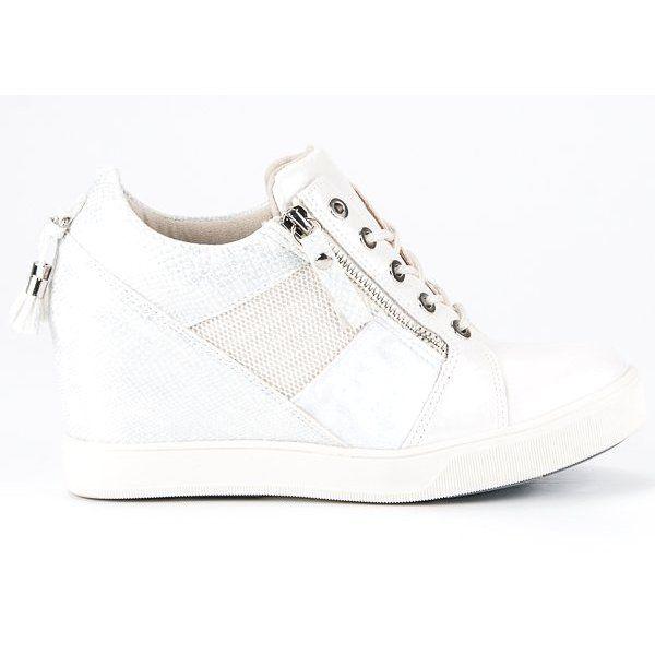 Kylie Modne Sneakersy Na Koturnie Biale Sneakers Shoes Fashion