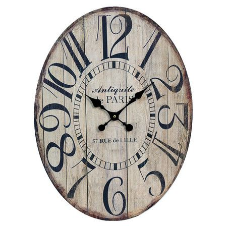Wood Wall Clock With Oversized Numerals. Product: Wall ClockConstruction  Material: WoodColor: Black