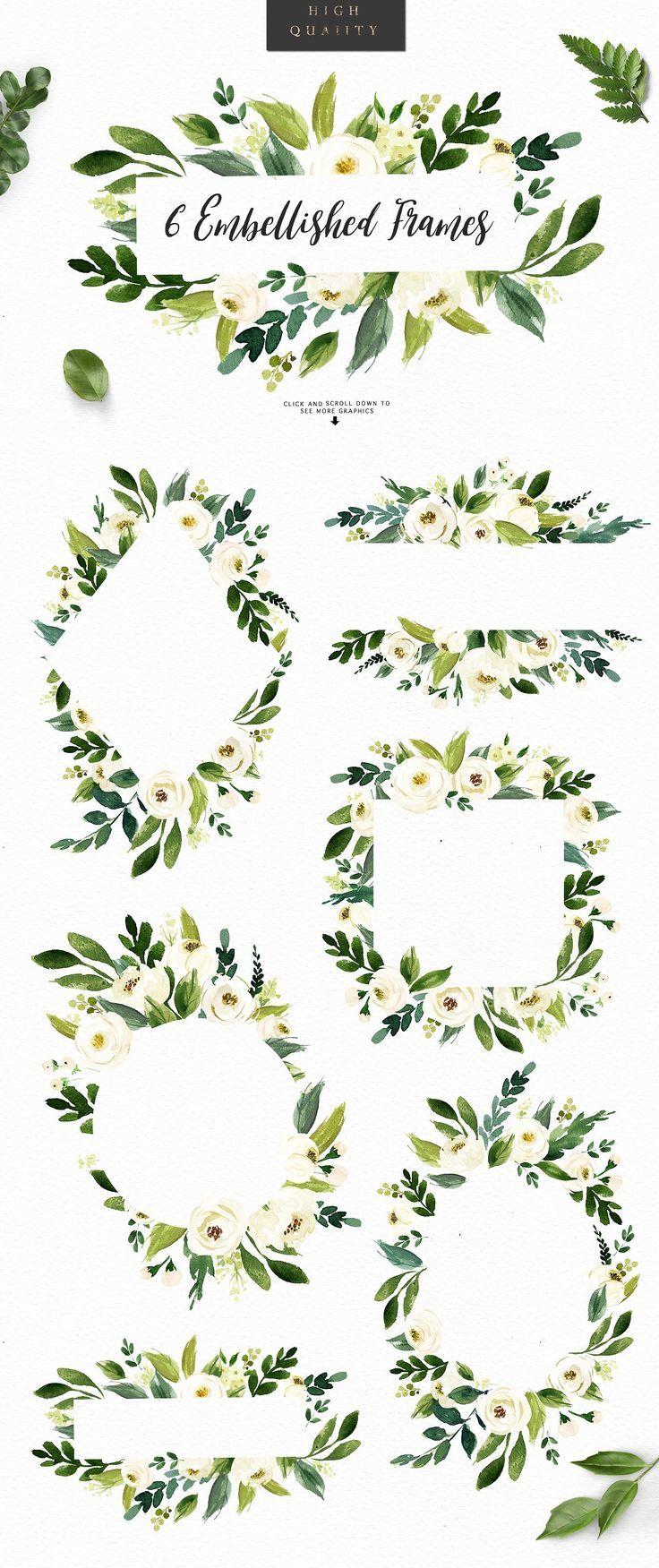 Watercolor White Flower Clip Art Watercolor Design Art Flowers
