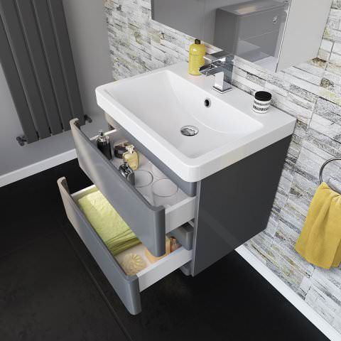 600mm Denver Ii Gloss Grey Built In Basin Drawer Unit Wall Hung