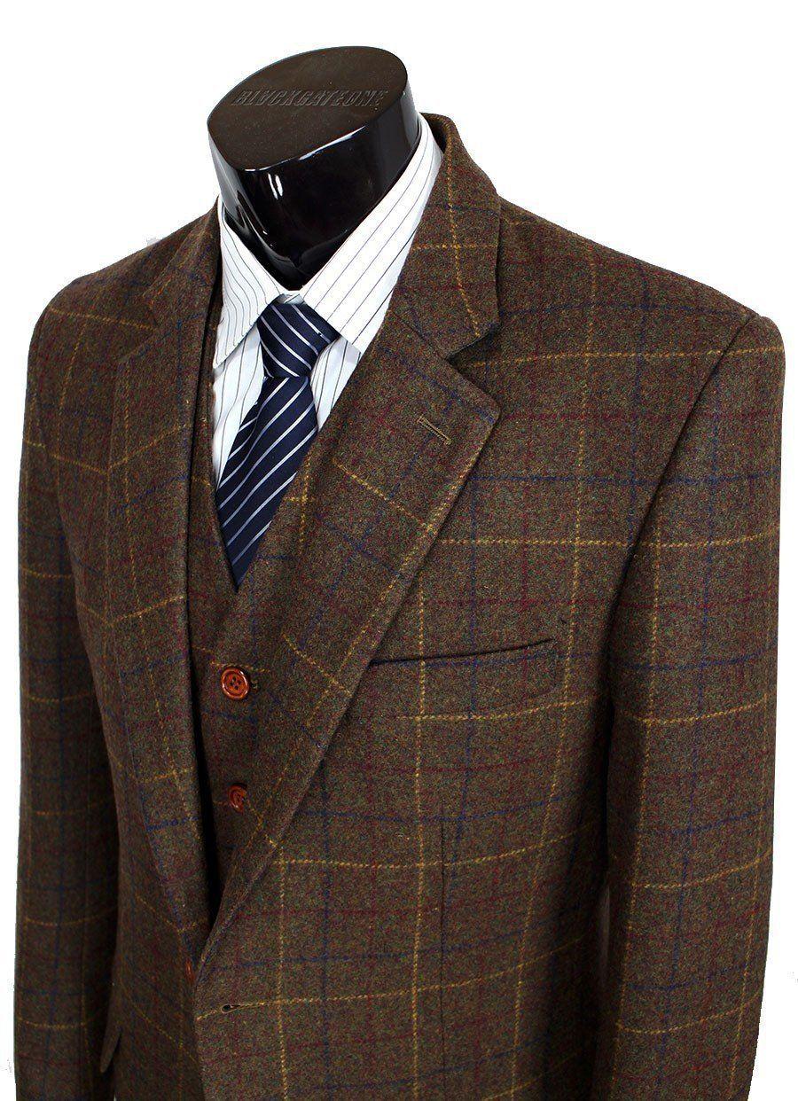 Mens Woolen Brown Tweed Blazer Tailor Custom Made Formal Suit 3 Piece Suit Mens Fashion Smart Mens Outfits Jackets Men Fashion