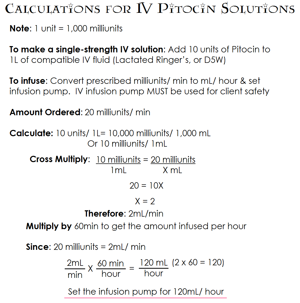 Calculations For Iv Pitocin Solutions
