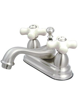 Cumberland Centerset Bathroom Faucet With White Porcelain Cross