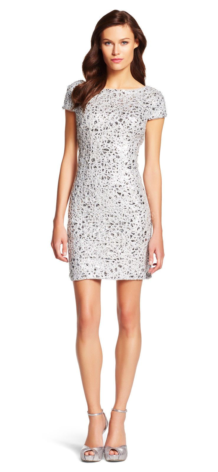 Adrianna Papell Short Sleeve Sequin Cocktail Dress Silver Final Sale Sequin Cocktail Dress Gray Cocktail Dress Cocktail Dress Classy