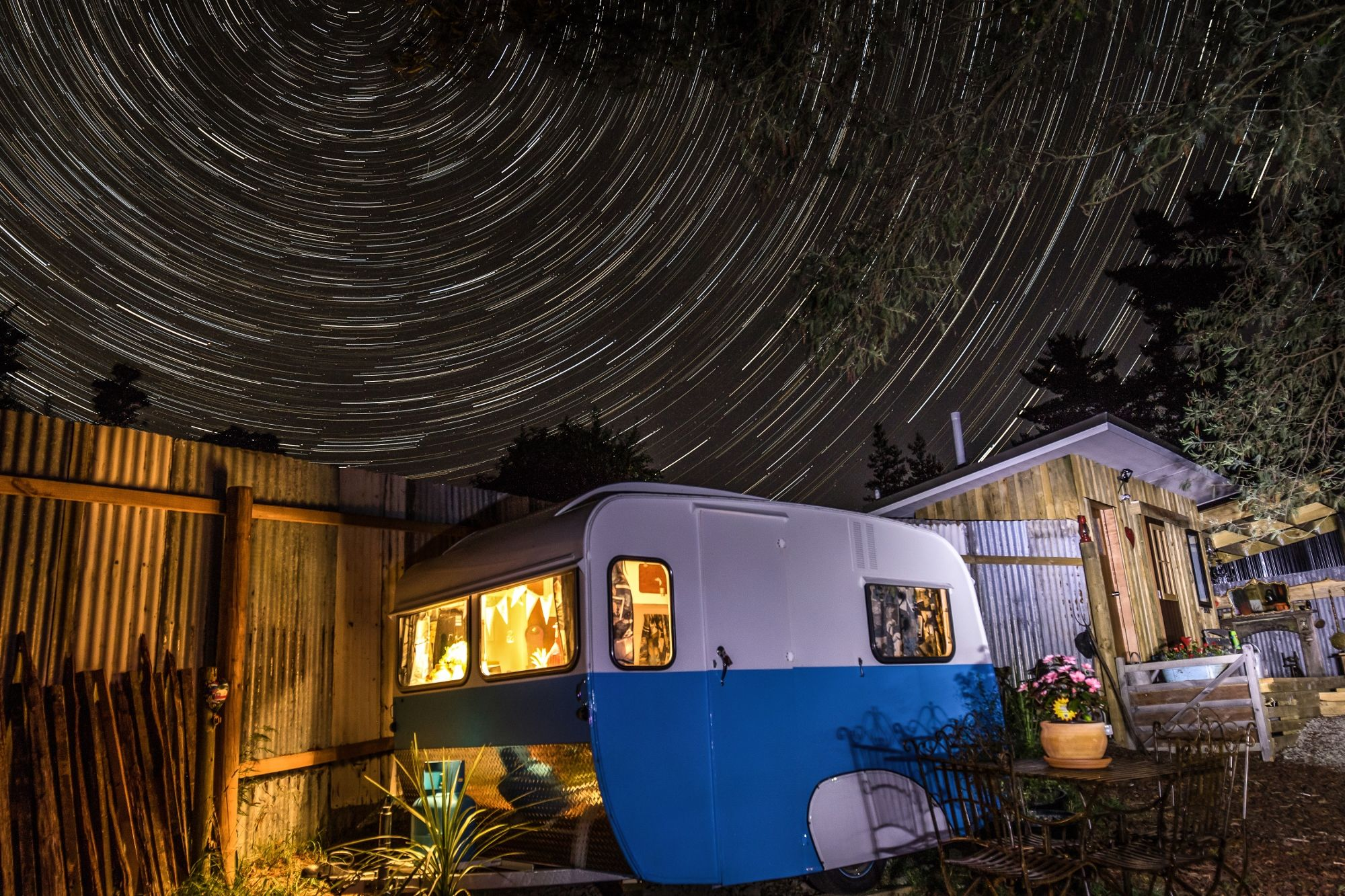 Pearl under a starry sky at Kissing Gate glamping, Mapua