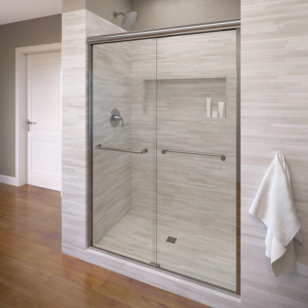 Merveilleux Basco Infinity 47 In. X 70 In. Semi Frameless Sliding Shower Door In Silver  With AquaGlideXP Clear Glass