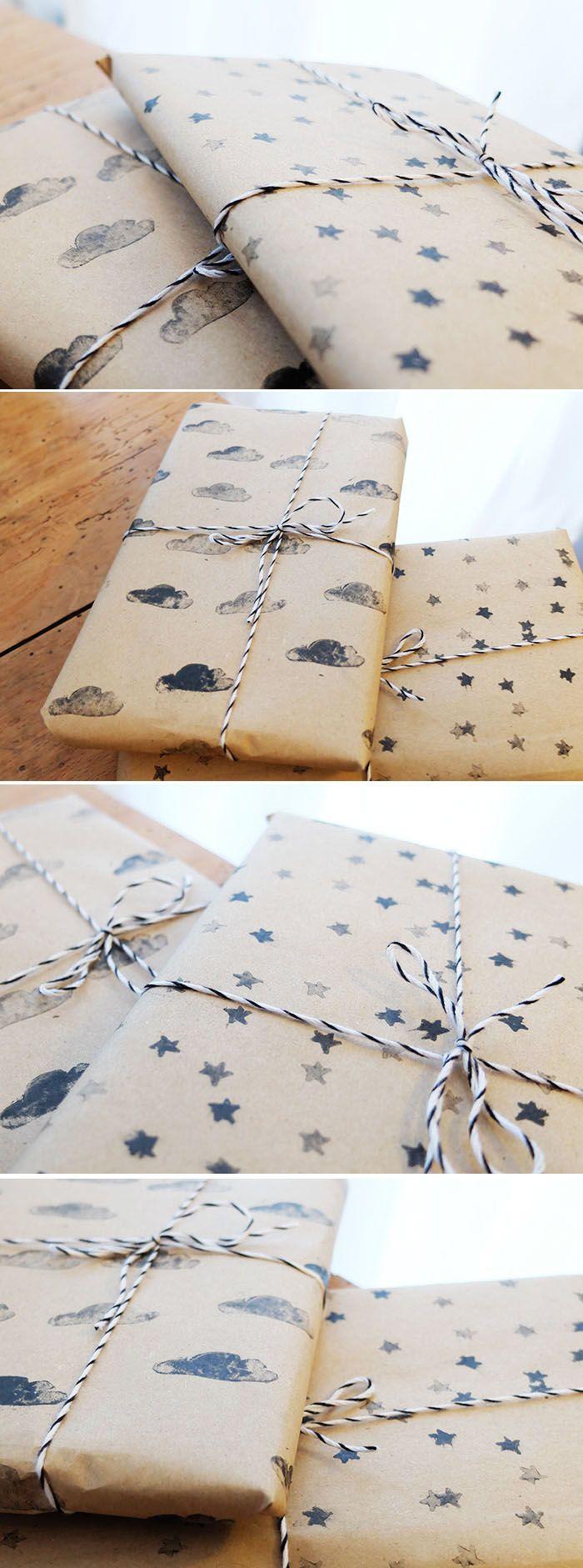 diy fabriquer son papier cadeau avec des tampons et du papier kraft diy ideas 2 pinterest. Black Bedroom Furniture Sets. Home Design Ideas
