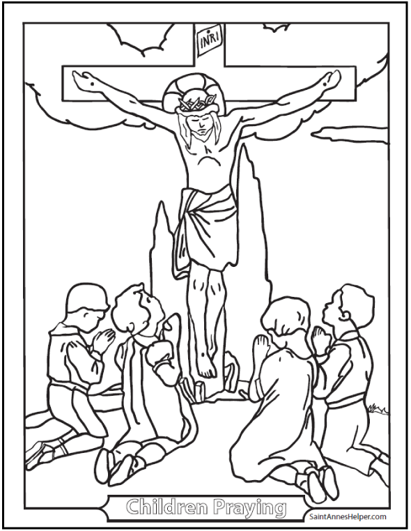 children praying coloring page to print - Lent Coloring Pages Booklets Kids
