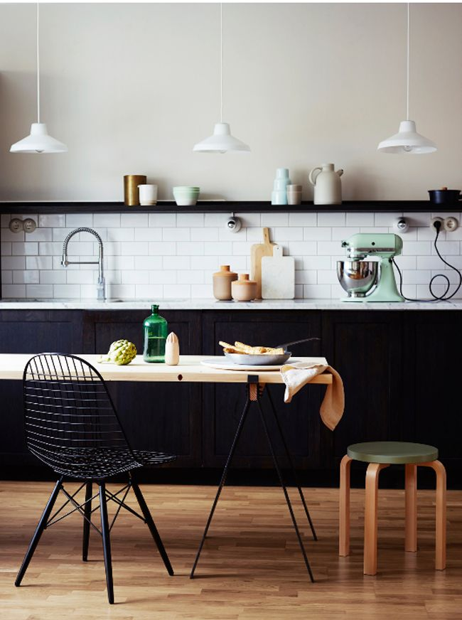 black and white kitchen with pops of mint green i love the white subway tile and white pendants contrasted with the black cabinets - Black And White Kitchen Nz